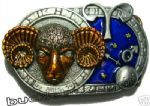 ARIES THE RAM, ZODIAC HOROSCOPE SIGN BELT BUCKLE + display stand